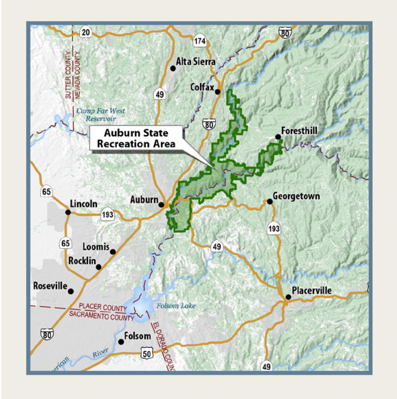 Auburn State Recreation Area General PlanResource Management Plan - Auburn us map