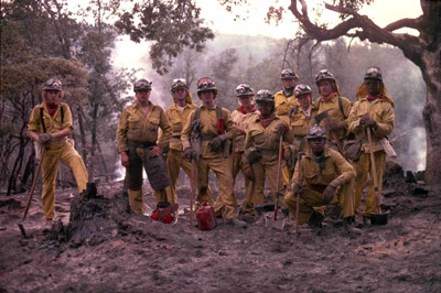 Modern California Conservation Corps fighting fires
