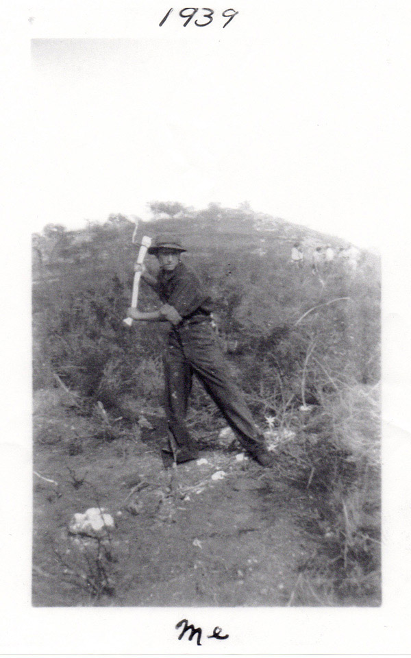 Clearing brush at Cuyamaca, 1939