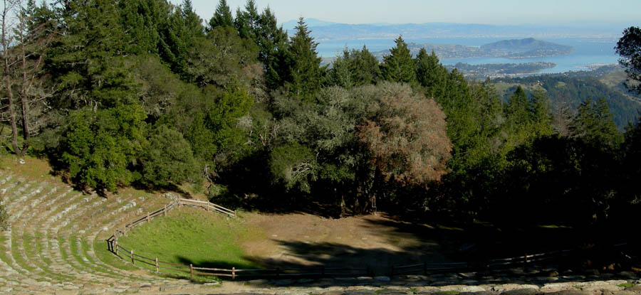 Mount Tamalpais Mountain Theater, with Mount Diablo in the distance