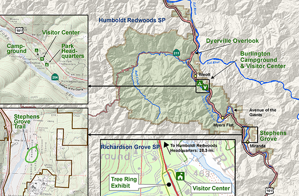 Tour map of Humboldt Redwoods and Richardson Grove