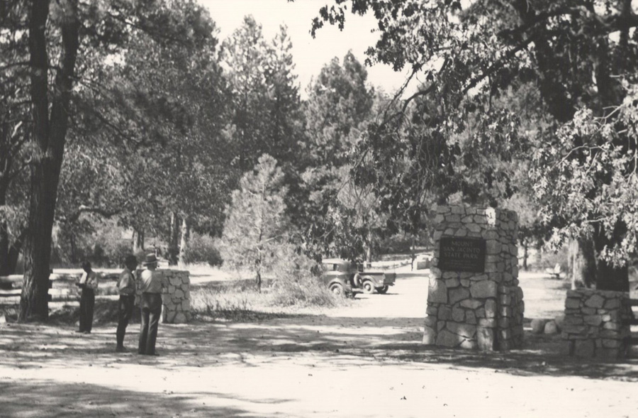 Pillars and fence at Idyllwild entrance, c. 1936