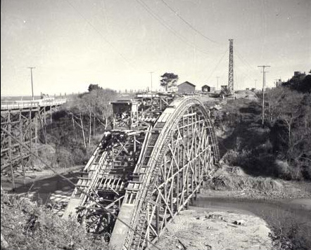Jughandle bridge under construction, 1938.