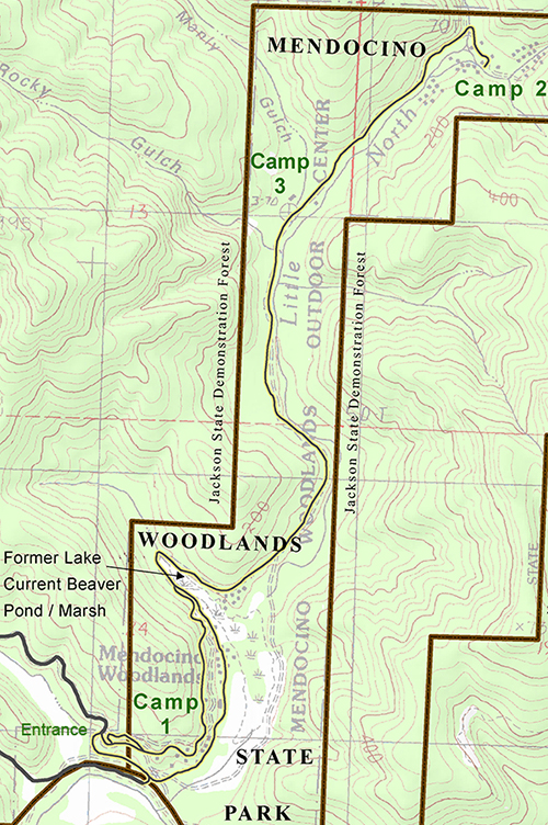 Map of Mendocino Woodlands camp locations