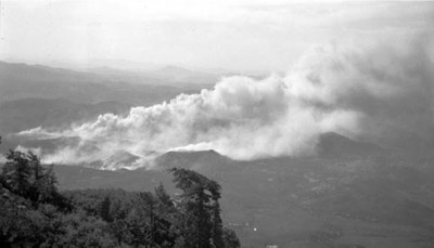 Fire in valley below Palomar Mountain, 1934