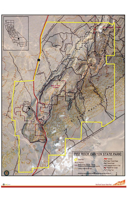 Map of Red Rock Canyon State Park