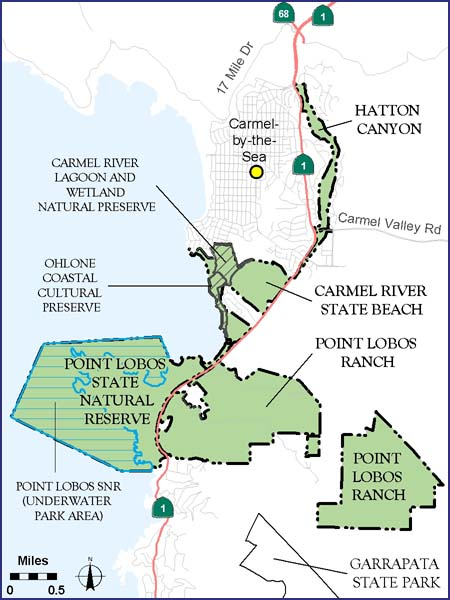 Carmel Area State Parks map