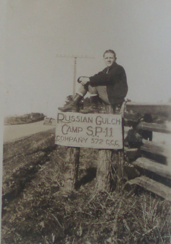 Russian Gulch CCC camp sign on old Highway 1