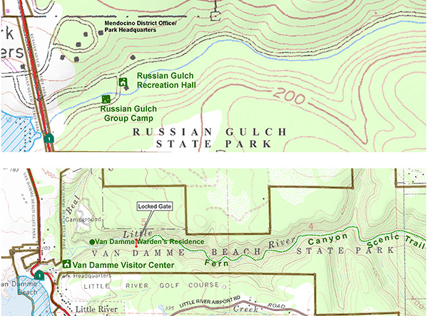 Tour map, Russian Gulch and Van Damme State Parks