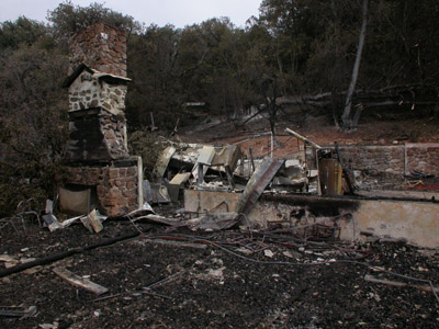 Cuyamaca CCC-built Boy Scout camp building after fire