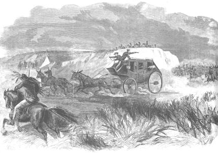 Butterfield Overland Dispatch coach under attack, 1866