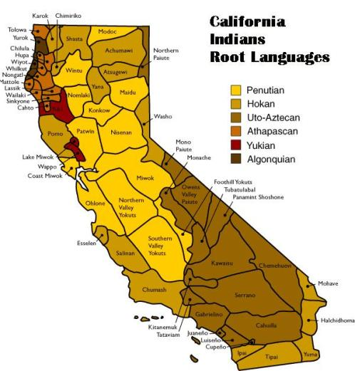 California Indians Language Map (provided by Native American Heritage Commission)