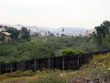 Border line with church view