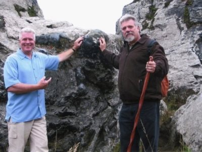 Breck Parkman wiith Huell Howser, host of California's Gold, on the Sonoma Coast in 2004.