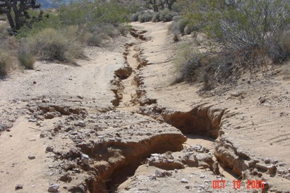 Figure 5. Channels deeply cut into the trail head.