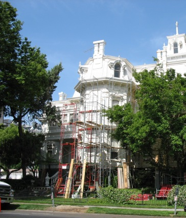 Scaffolding for the exterior painting of the Historic Governor's Mansion.