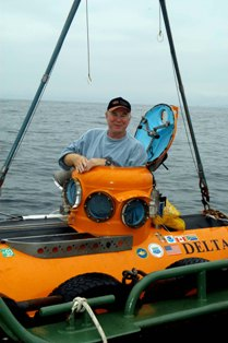 "John Foster on mini sub ""Delta"""