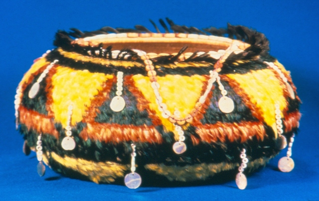 Pomo fully feathered tassel basket