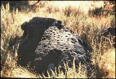A pitted boulder at CA-MOD-1156. (Photo: Arlene Benson)