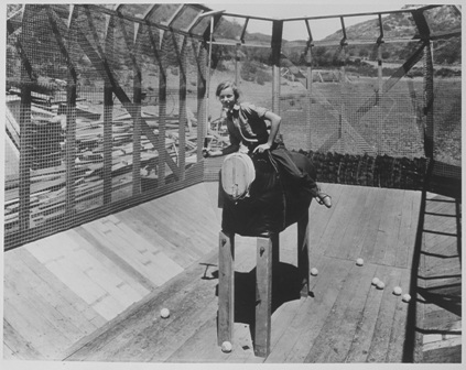 Mary Rogers (1928) in practice polo cage