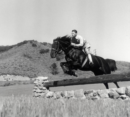 Ronald Reagan on a steeple jump at his Malibu Ranch in 1958. Photo Courtesy of the Reagan Family. Copyrighted.