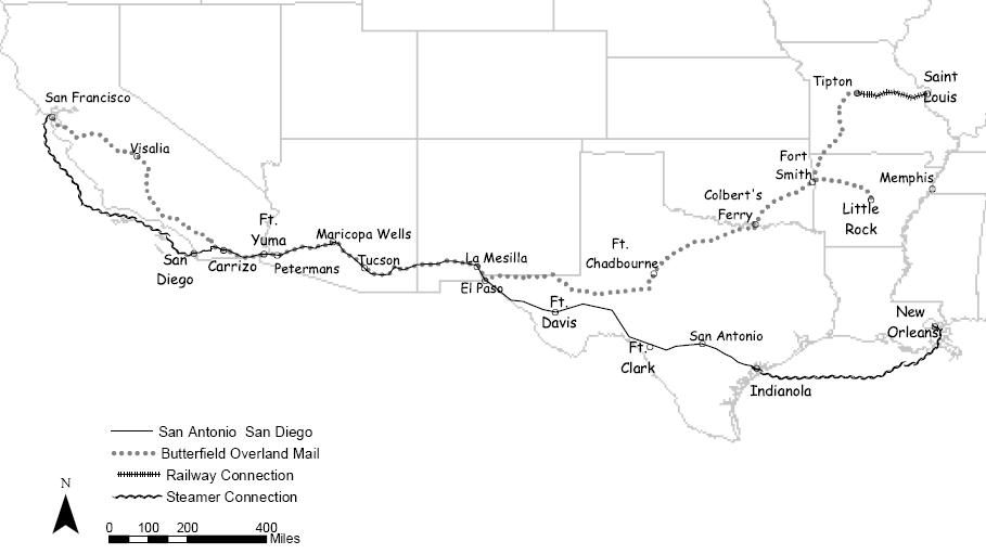 Routes of the SA & SD and Butterfield Mail Lines(California State Parks)