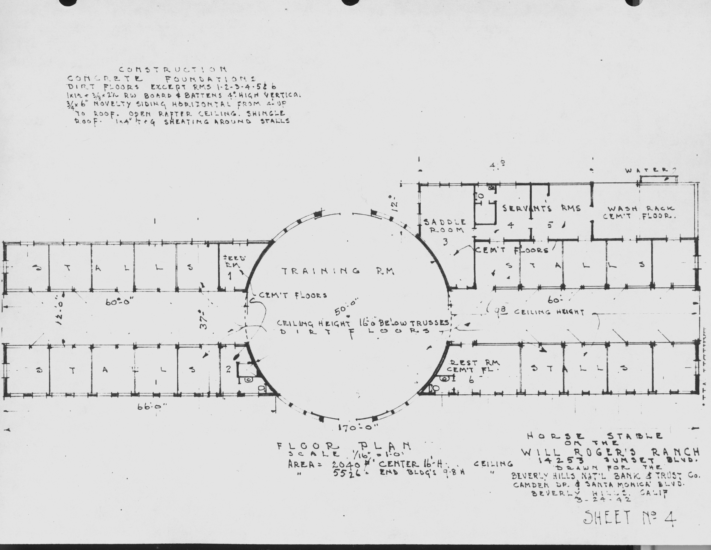 Will Rogers's Stable Blueprint showing dimensions of central rotunda.