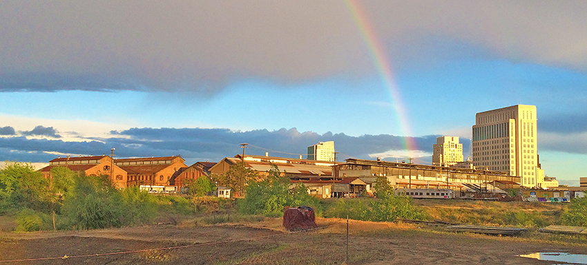 Rainbow over the Sacramento Railyard Shops