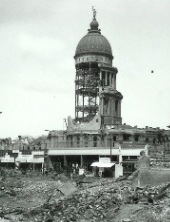 "City Hall... ""there was no better exhibit of the destructive force of the earthquake. Most of the stone had been shaken from the great dome, leaving standing the naked framework of steel.""   - Jack London"