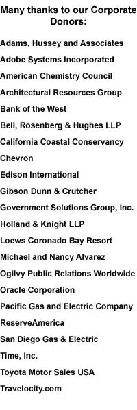 The California State Parks Foundation thanks these corporations and companies for their commitment to State Parks.