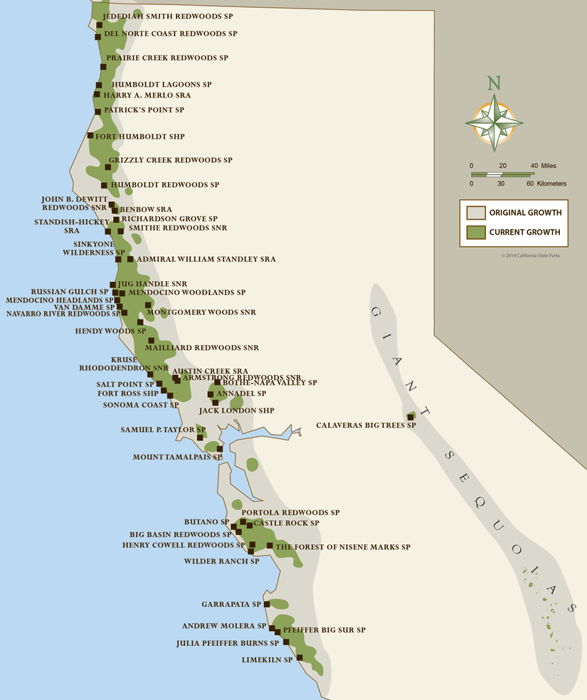 California Coastal Redwood Parks - Ca map