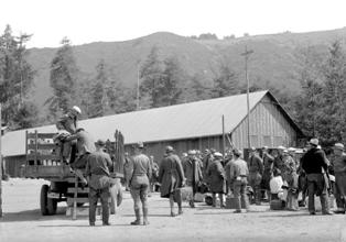 CCC company arriving at Camp Mount Tamalpais