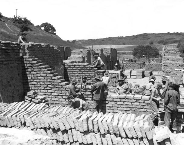 CCC used adobe bricks that they had to manufacture on site in the restoration of the Mission. Photo 1935