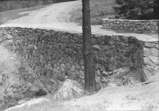 Stonework entrance at Mount San Jacinto, 1935