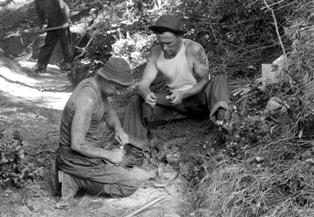 CCC enrollees at Mount Tamalpais working on explosives