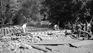 CCC construction of custodian's cottage at Pfeiffer Big Sur in 1934