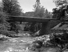 CCC crews built the Weyland Bridge to cross over the Big Sur River.