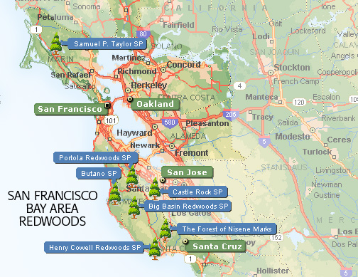 California's San Francisco Bay Area Redwood Parks Map