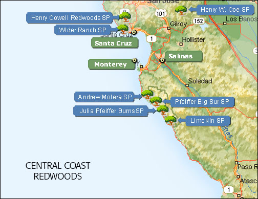 Central California Coast Redwood Parks Map