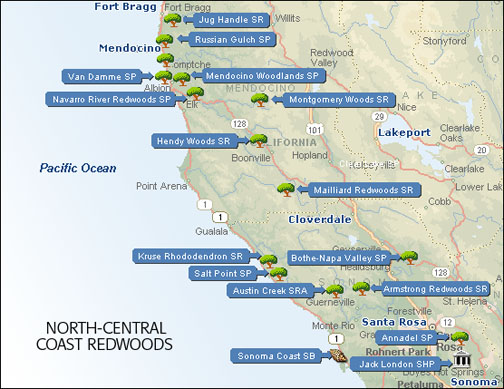 Northern Central California Coast Redwood Parks Map