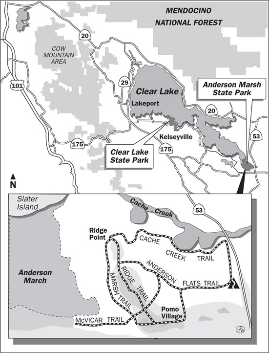 Cache Creek, Anderson Flats, Ridge, Marsh Trails Map