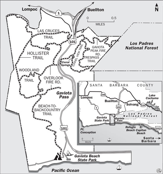 Beach-to-Backcountry, Overlook, Hollister Trails Map