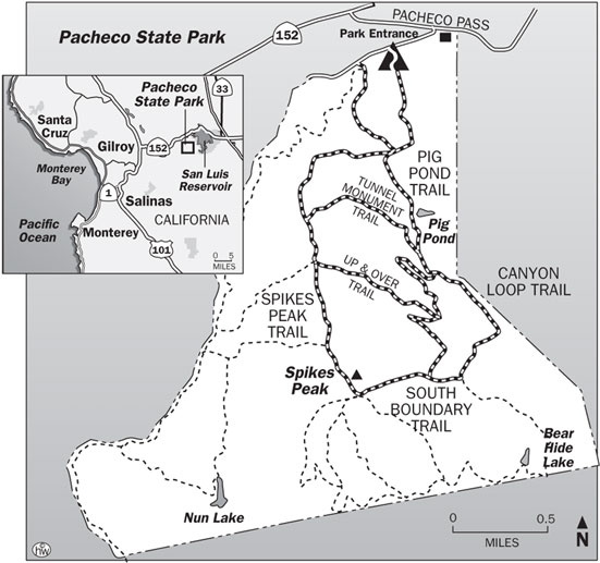 Spikes Peak, South Boundary, Canyon Loop, Pig Pond Trails Map