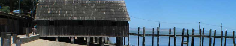 View of dock and fishing hut area at China Camp SP
