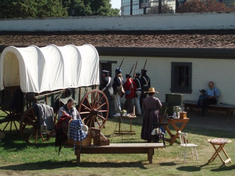 On a Living History Day, costumed docents bring Sutter's Fort State Historic Park to life.