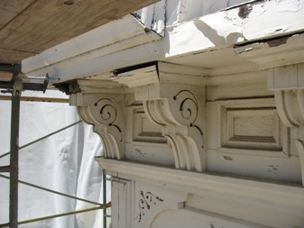 Cornice damage on buildings
