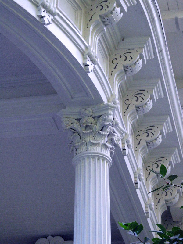 Architectural Detail (column and dentil moulding) on front porch.