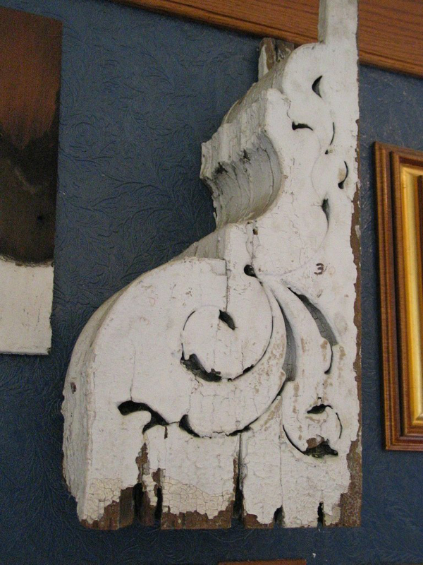 Architectural element from mansion before restoration.