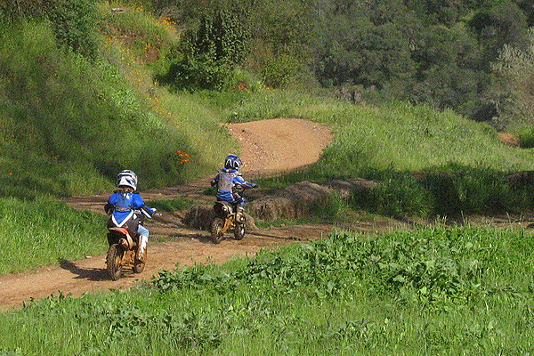 Young riders on Youth Track at Mammoth Bar Off-Highway Vehicle Recreation Area.