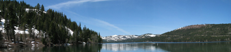 Panoramic view of Donner Lake from Donner Memorial State Park